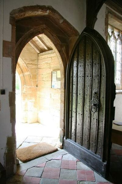 Tür, geöffnet, sonne