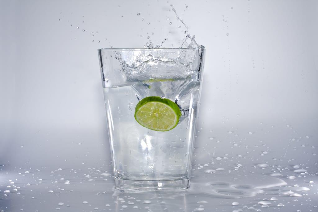 trinken, wasserglas, Limette